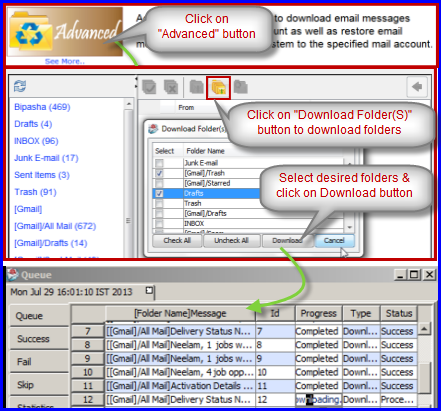 download selected folder to backup email from IMAP account