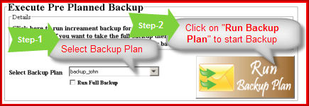 select backup plan to take backup from IMAP account