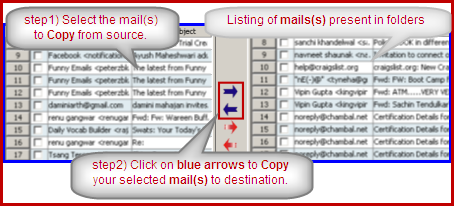 copy selected email in imap account