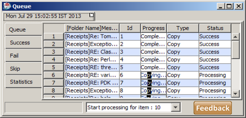 Queue panel for copy imap messages