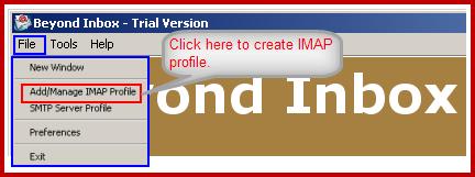create imap profile to configure imap account for backup