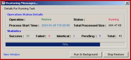 progress bar for restore email to imap
