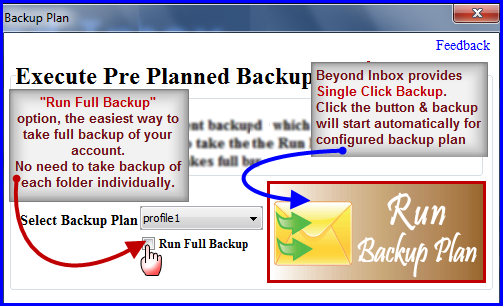 one click backup in Beyond Inbox