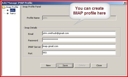 imap profile panel in Beyond Inbox