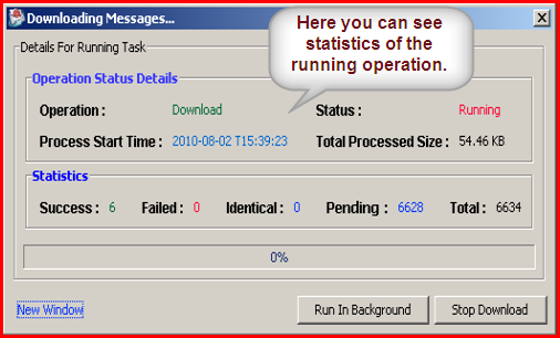 Statistics of running operation in Beyond Inbox